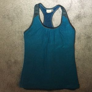 Athleta Teal and Teal Striped Layered Tank | L